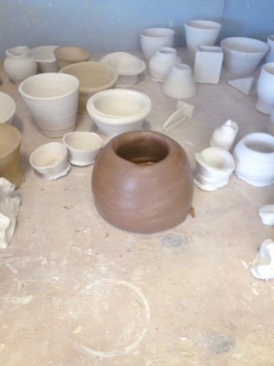 Pot drying in ceramics studio at SCA
